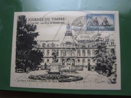 """VEND TIMBRE DE FRANCE N° 1446 SUR CARTE """" LE HAVRE D'AUTREFOIS """" + VIGNETTE !!! - Francia"""