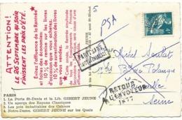 SEINE CP PRIVEE 4F PREO MOISSONNEUSE GRIFFE RETOUR 1877 = JOINVILLE - 1921-1960: Periodo Moderno