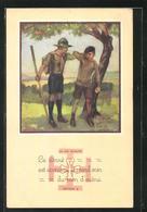 Künstler-AK La Loi Scoute, Article 9, Pfadfinder Erwischt Apfeldiebe - Pfadfinder-Bewegung