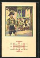 Künstler-AK La Loi Scoute, Article 10, Pfadfinder Lässt Sich Nicht Von Seinem Weg Abbringen - Pfadfinder-Bewegung