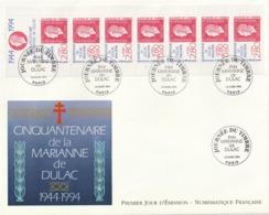 Rare Enveloppe Premier Jour Grand Format Cinquantenaire De La Marianne De Dulac - FDC