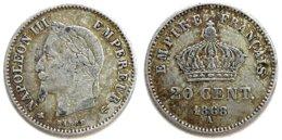 FRANCE - Napoléon III - 20 Ces Ag 1868-A - Frankreich