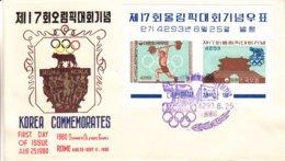 Corée Du Nord - Lettre De 1960 - Jeux Olympiques De Rome - Haltérophilie - Valeur Oblitéré 37,50 Euros - Sur Lettre ++ - Corée Du Nord
