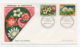 Enveloppe 1er Jour HAUTE VOLTA Série Florale Oblitération OUAGADOUGOU 29/04/1963 - Haute-Volta (1958-1984)
