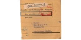 Allemagne  - Colis Postal  Départ Pirmasens ( Edouard Rheinberger A G  )   -  1 Trou - Allemagne