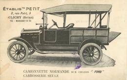 93 Clichy Automobile établissements Petit Camionnette Normande Sur Chassis Ford  Ref 1886 - Clichy Sous Bois