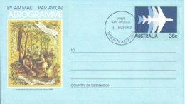 AUSTRALIA, AEROGRAMA PRIMER DIA DE EMISION AÑO 1982 - 1980-89 Elizabeth II