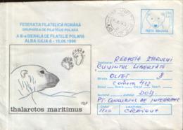 Romania - Postal Stationery Cover Used 1996 - 11th Biennial Of Polar Philatelic, Alba Iulia; Polar Bear - Events & Commemorations