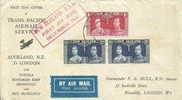 NUEVA ZELANDA, SOBRE PRIMER DIA  TRANS-PACIFIC  AIR MAIL SERVICE CIRCULADO A LONDRES  AÑO 1937, - 1907-1947 Dominion