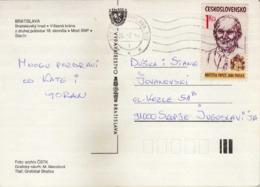 Postcard - Czechoslovakia Via Yugoslavia.stamp : - 1990 Papal Visit,Pope John Paul II - Brieven En Documenten