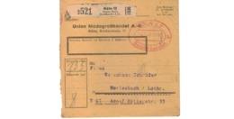 Allemagne  - Colis Postal  Départ Köln   -  Union Modegrosshandel  A G   -  4-2-43 - Allemagne