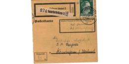 Allemagne  - Colis Postal  Départ Saarbrücken -  Pour Beningen ( Bening  )  -  22-3-43 - Allemagne