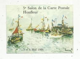 Cp, Bourses& Salons De Collections, 5 E Salon De La Carte Postale ,  HONFLEUR , 1986, N° 276 Sur 475 Ex. - Bourses & Salons De Collections