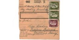 Allemagne  - Colis Postal  Départ Hamburg - Harburg  -   Pour Kochern  ( Cocheren  )  -  19-3-43 - Allemagne