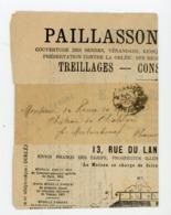"""CACHET DES IMPRIMÉS """"PARIS ? PP"""" SUR BANDE DE JOURNAL DE TARIFS DE PAILLASSON & CLAIES 1899 - 1877-1920: Période Semi Moderne"""