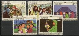 Equateur - Ecuador 1967 Y&T N°794A à 794E - Michel N°1392 à 1396 (o) - Noël - Equateur