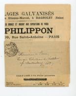 """CACHET DES IMPRIMÉS """"PARIS ? PP"""" SUR BANDE DE JOURNAL DE TARIFS DE T. PHILIPPON 1898 - Marcophilie (Lettres)"""
