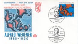 """(Bu-B1) BERLIN Sonderumschlag """"Theorie Der Kontinentalverschiebung"""" EF WB Mi 616 SSt 25.2.1980 BERLIN 12 - Berlin (West)"""