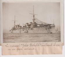 LE CUIRASSÉ JULES MICHELET SUR LEQUEL IL Y A UN GRAVE ACCIDENT  18*13CM Maurice-Louis BRANGER PARÍS (1874-1950) - Barcos