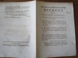 3 AOÛT 1793 DECRETS DE LA CONVENTION NATIONALE FAIRE PARVENIR DANS LES FONDERIES METAL DE CLOCHES POUR FAIRE DES CANONS - Décrets & Lois