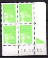Col12   France Coin Daté N° 3450 / 3429 Luquet  18 10 01  Neuf XX MNH Luxe - Coins Datés