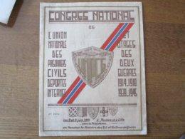 CONGRES NATIONAL DE L'UNPCG 1914-18 1939-45 LES 2 ET 3 JUIN 1951 A ROUBAIX ET A LILLE PROGRAMME DEDICACE - Historical Documents