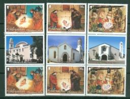 Gibraltar: 2002   Christmas - Cribs From Gibraltar Cathedrals   MNH Gutter Pairs - Gibilterra