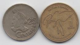 Guatemala : 25 Centavos 1989 & 1 Quetzal 1999 - Guatemala