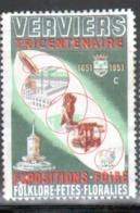 Erinophilie, Vignette : Ville De Verviers, 1651-1951, Tricentenaire Expositions, Foire, Folklore, Feetes, Floralies - Commemorative Labels