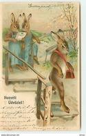 N°12229  Husvéti üdvözlet - Lapins Habillés - Animaux Habillés