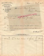 SUISSE- GENEVE - RARE FACTURE 1894- J. PICCOT- MERCERIE BONNETERIE CHAUSSURES- CRINS PLUMES ET DUVETS - Svizzera