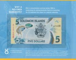 Solomon Islands 5 Dollars P-new 2019 UNC Polymer Banknote IN FOLDER - Salomons