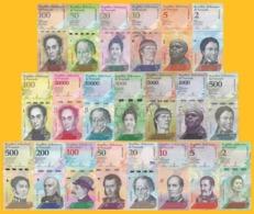 Venezuela Full Set 2 - 100000 Bolivares & 2 - 500 Soberanos (21 Banknotes) UNC - Venezuela