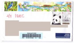 Singapore To Malaysia Private Cover White-collared Kingfisher Singapore River Giant Panda - Singapore (1959-...)