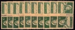 10x Switzerland Suisse Schweiz 1921, Tell As Inverted Pairs (tête-bêche) (MNH, **) - Stamps