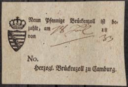 1833 Neun Pfennige Brückenzoll Herzogl. Brückenzoll Zu Camburg - Fotografia