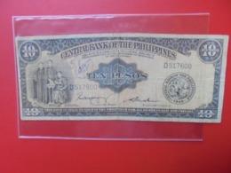 PHILIPINNES 10 PESOS ND(1949) SIGNATURE N°2 CIRCULER (B.7) - Philippines