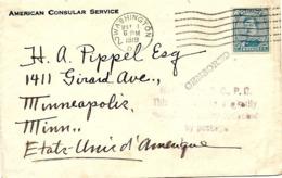 SH 0097. N° 141 Obl. Méc. US WASHINGTON 1 MAY 1919 S/L. Consulaire V. Minneapolis. CENSURES. RARE. TB - Belgio