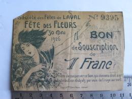 (53) Mayenne - LAVAL - Bon De Souscription - Société Des Fêtes De Laval, Fête Des Fleurs 30 Mao 1926 - Laval