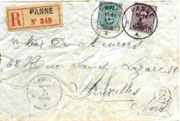 SH 0098. N° 139-141 Càd PANNE 5.VI.1920 S/Lettre RECOMMANDEE De FORTUNE (étiquette Française) Vers Bruxelles. - Storia Postale