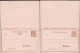 Germany 1895 - Berlin Privaten Stadtpost Ganzsache + Antwort. Omnibus Packetfahrtkarte AG. - Private