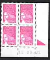 Col12   France Variete Coin Daté N° 3454 / 3433 Luquet  12 09 01 Barre Pho Brisées  Neuf XX MNH Luxe - 2000-2009