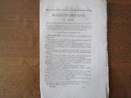 26 SEPTEMBRE 1846 BULLETIN DES LOIS N° 1330 ORDONNANCES DU ROI TOURRETTES DRÔME DEBARCADERE POUR LE SERVICE DES BATEAUX - Décrets & Lois