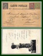 Nouvelle Calédonie N° 41 + 43 + 59 Obl Nouméa Bleu 1903 / CPA Tabou De La Tribu De Houailou > Cette France - Briefe U. Dokumente