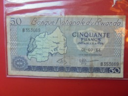 RWANDA 50 FRANCS 1964 CIRCULER  (B.7) - Ruanda