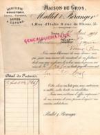 SUISSE - GENEVE - RARE LETTRE 1898- MALLET & BERANGER- MERCERIE BONNETERIE -GANTS GANTERIE-CORSETS-1 RUE ITALIE - Svizzera