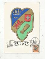 Carte Maximum ,ALGERIE , ALGER , Blason, 1950, Publicité Plasmarine ,n° 804 , Labo. LA BIOMARNE , 2 Scans - Cartoline Maximum