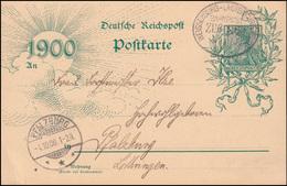 Bahnpost WEISSENBURG-LAUTERBURG ZUG 1183 - 4.10.1900 Auf Postkarte P 43 II - Zonder Classificatie