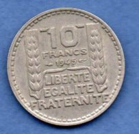 Turin  - 10 Francs 1945 --  Rameaux Courts   - état TTB - K. 10 Franchi
