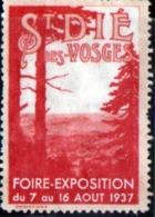 Erinophilie, Vignette : St Die Des Vosges, Foire Exposition Du 7 Au 16 Aout 1937 - Sports